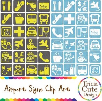 The zip file includes 48 PNG files with transparent background:24 black and yellow airport signs,24 white and blue airport signs (same as the signs above but different color).-Decorate your classroom with these airport signs for the airport role play activities. -Use the airports signs to create your own products.-Teach your students about the meaning of different airport signs.Perfect for travel, holiday, vacation, airplane theme!*Note - Allowed for personal or commercial use $4.50