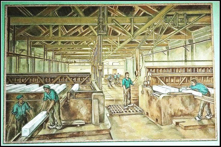 Segons diverses fonts la fàbrica va arribar a ocupar 80 treballadors. Aquest mural de López Ramon mostra el procés de fabriicació industrial de gel, probablement a la mateixa Siberia.