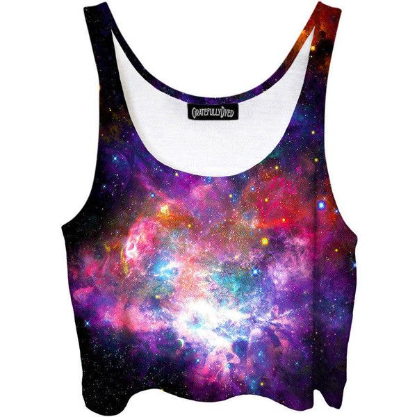 Purple Galaxy Belly Shirt Intense Stars Festi Show Clothes Pastel Goth... (£31) ❤ liked on Polyvore featuring tops, crop tops, grey, women's clothing, purple shirt, print shirts, grey shirt, pastel goth shirts and galaxy print shirt