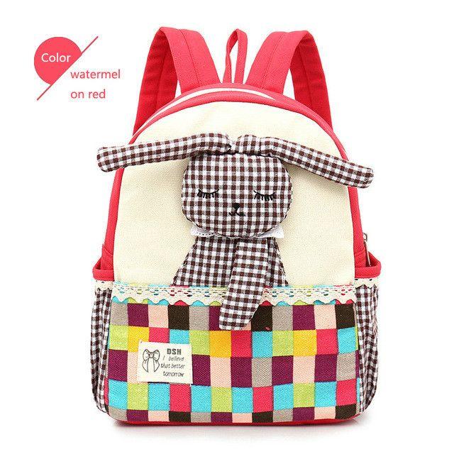 SUNMEJOY 2017 cute Cartoon children backpacks kindergarten rabbit animals backpack/kid school bags/Satchel for boy and girls A3