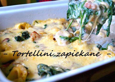 tortellini zapiekanka ze szpinakiem i boczkiem, sos beszamelowy, szpinak, boczek, tortellini, ser żółty
