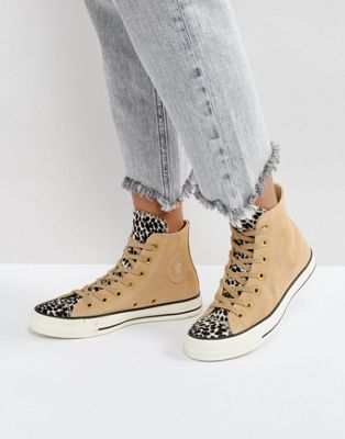 Converse Chuck Taylor All Star Hi Top Sneakers In Pale Leopard Print