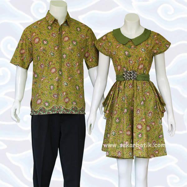 batik sarimbit modern hijau koleksi terbaru toko baju batik sarimbit modern online www.sekarbatik.com