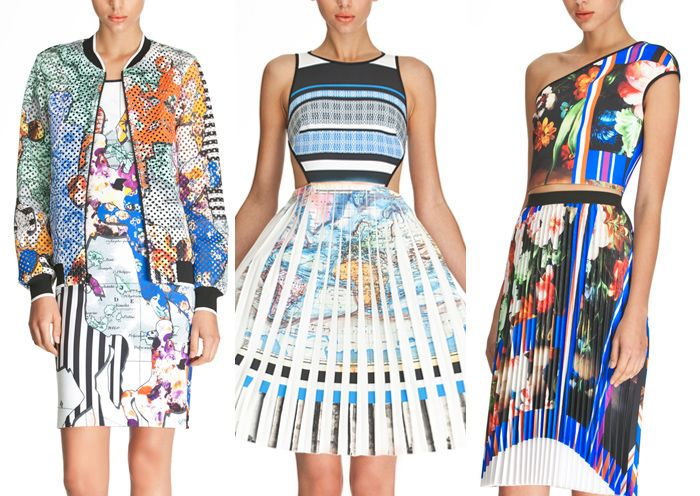 Clover Canyon – Pre Fall 2014-Abstract Pattern Form – Map and Chart Plays  - Dark Vintage Florals  - Halftone Overprints – Engineered Stripes – Printed Pleated looks