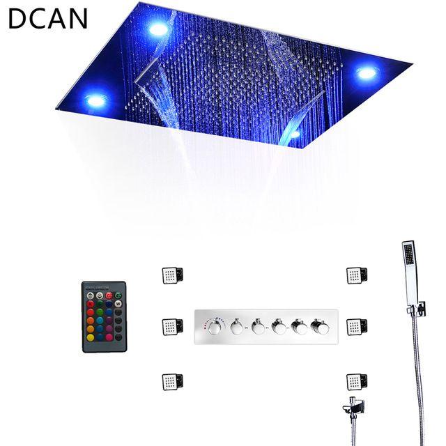 Bathroom Fixture Shower Faucets Ceiling Mounted Waterfall Mist Shower Head  Big Rain LED Shower Set High