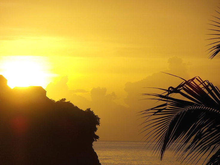 The bluffs at sunset in Castries, St. Lucia | Bask In The Caribbean Sun | View Deals!