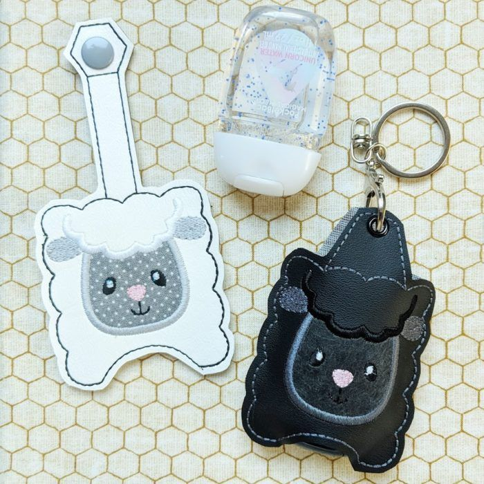 Sheep Hand Sanitizer Holder Key Fob Snap Tab October 2018