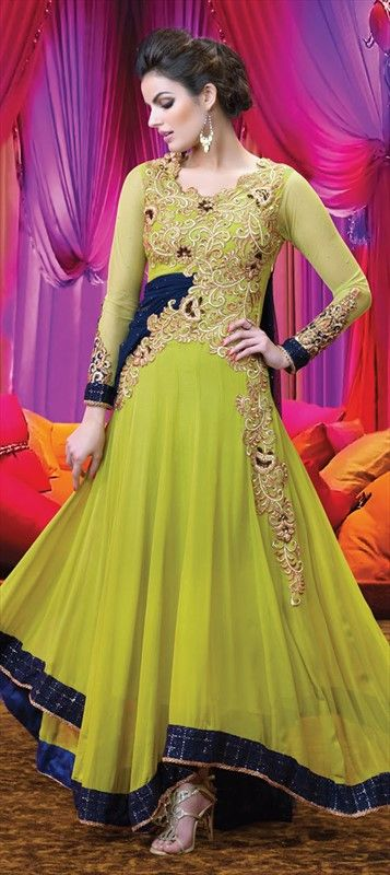 Anarkali NeonGreen Partywear Embroidery Lace Bride Salwarkameez
