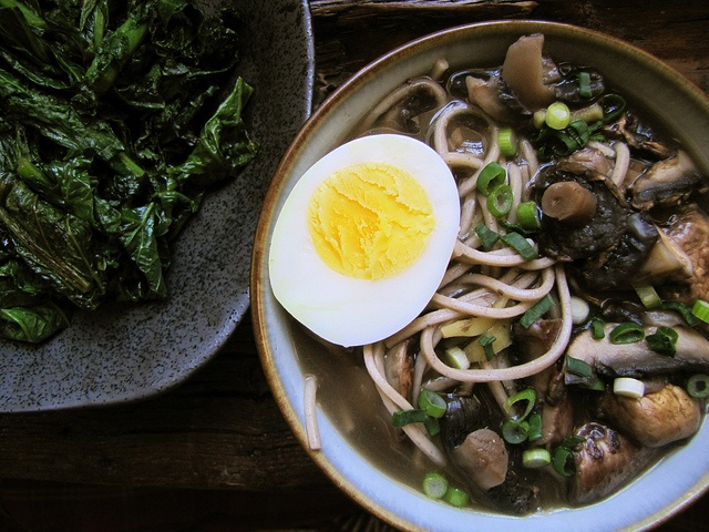 Mushroom Soba & Miso-Braised Mustard Greens: Mushrooms Soba, Soba Soups, Mustard Green, Mushrooms Recipes, Dinners Recipes, Soba Noodles, Erway Recipes, Noodles Soups, Brai Mustard