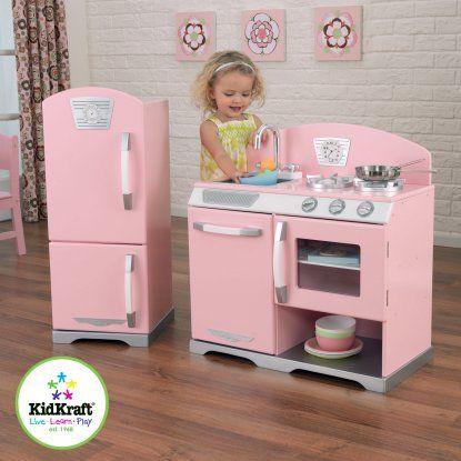 KidKraft 2 Piece Pink Retro Kitchen and Refrigerator - 53160 - Play Kitchens at Hayneedle