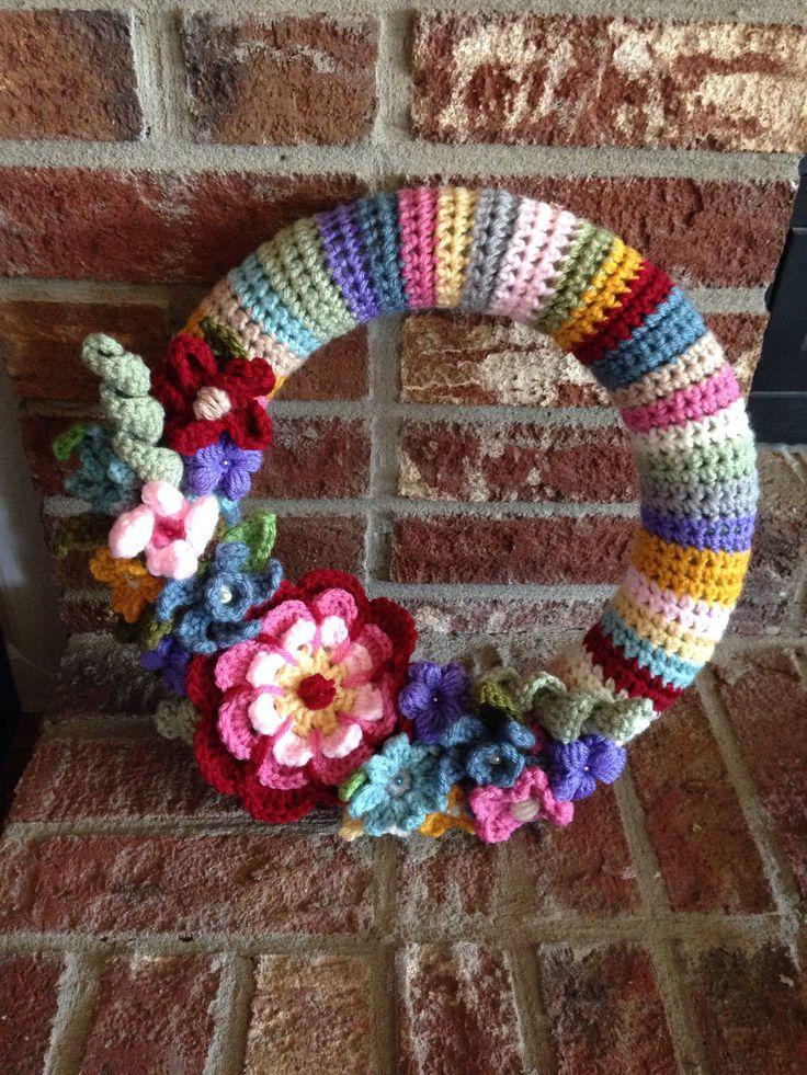 Crochet flower spring wreath