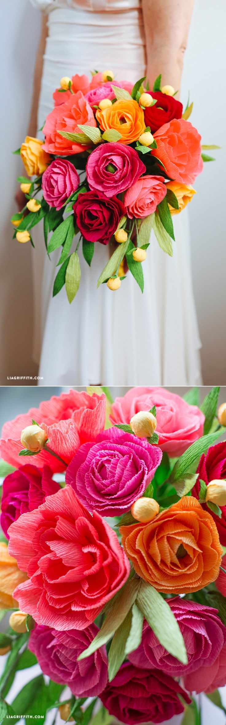 #CrepePaper #NeonWeddingBouquet #PaperFlowers #DIYWedding www.LiaGriffith.com