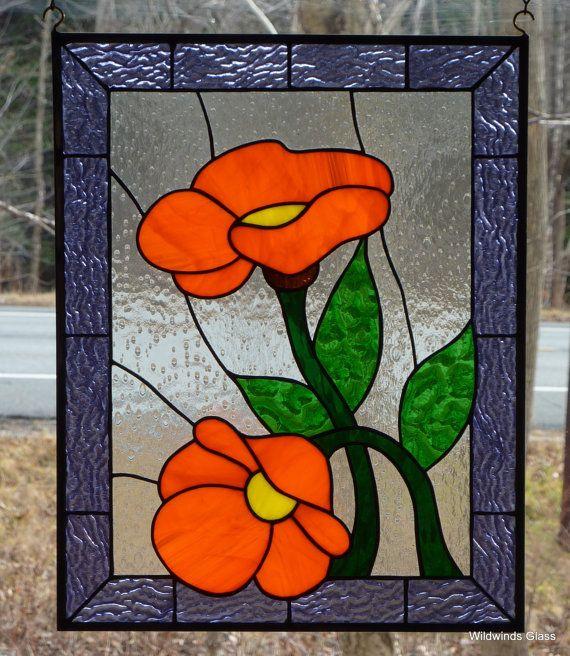 Custom manchado de cristal flor de naranja por WildwindsGlass