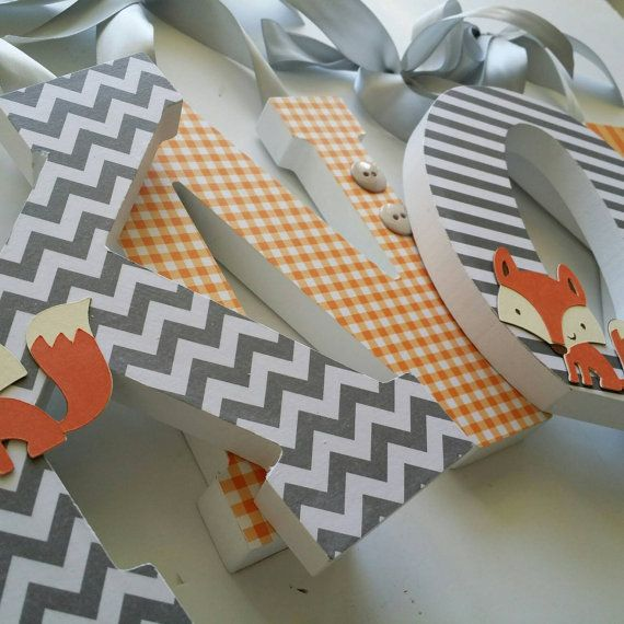 Baby Boy Nursery, Wall Wooden Letters, HAPPY FOX THEME, Custom Wood Letter, Grey and Orange, Hanging Name Sign