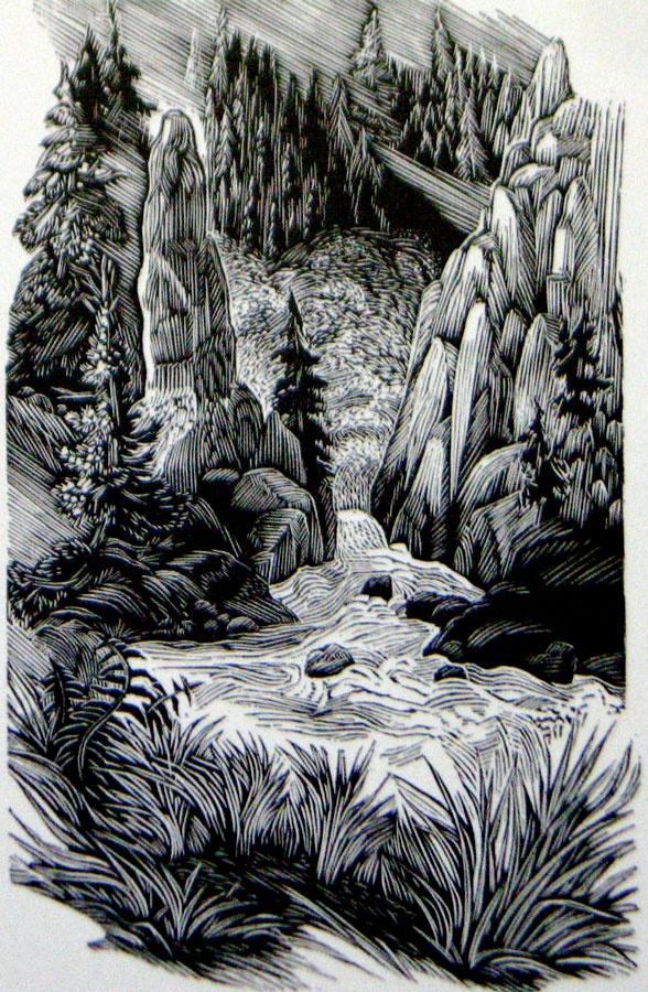 """Yellowstone,"" wood engraving, 4 1/4"" x 2 5/8"" Artist Siri Beckman"