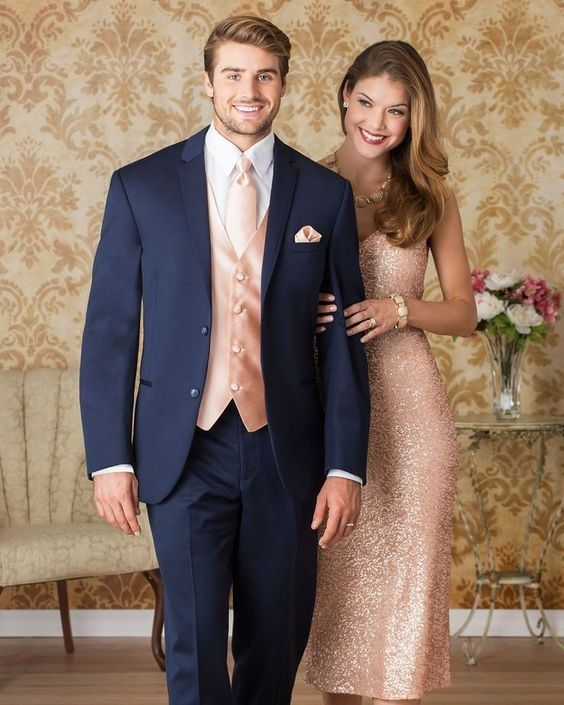 Latest Coat Pant Designs Navy Blue Pink Wedding Suits for Men Tuxedo jacket Slim Fit 3 Piece Custom Groom Blazer Terno Masculino