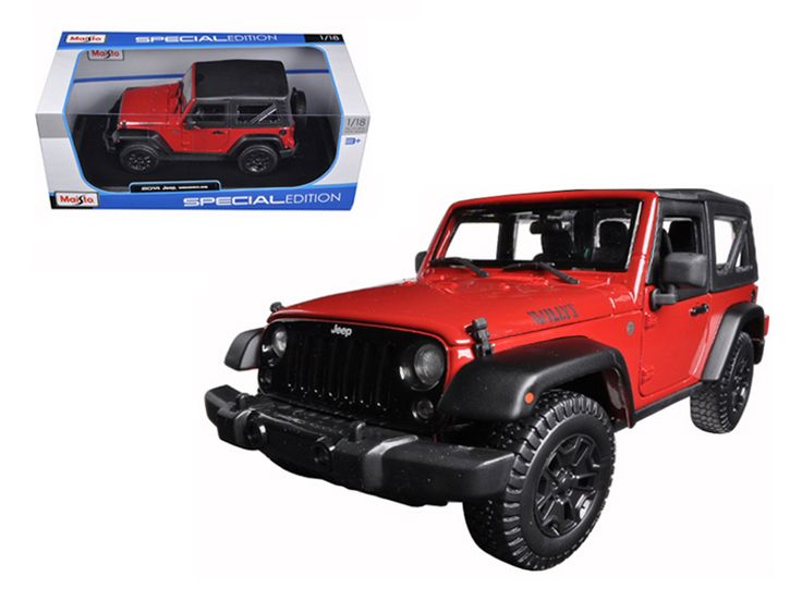 2014 Jeep Wrangler Willys Red 1/18 Diecast Model Car by Maisto