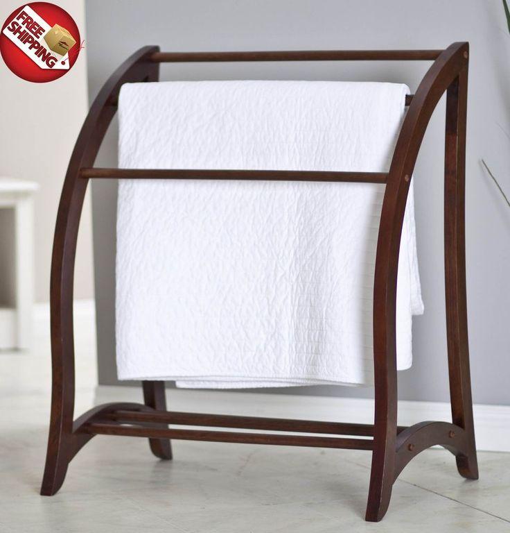 Wooden Quilt Rack Towel Holder Stand Freestanding Blanket