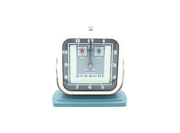 Everhot Art Deco Clock / Kitchen Timer, Turquoise 1940s Kitchen, Industrial Decor by LoftAndLodge on Etsy