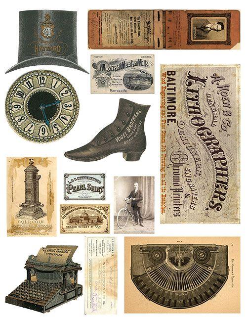 Free Vintage Elements Collage Sheet No. 1