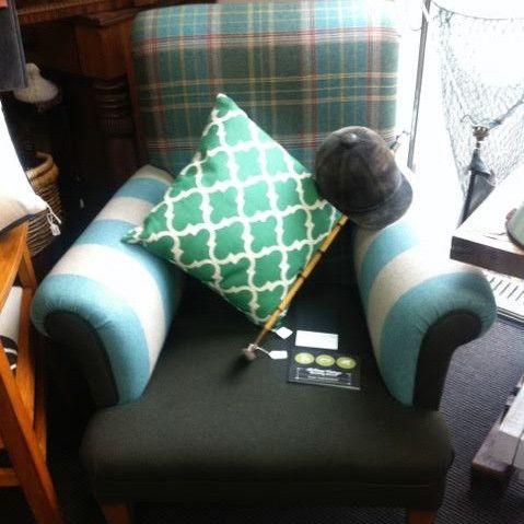 Luxurious tartan wool arm chair - ReVamp Vintage