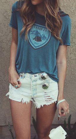 #summer #fashion / casual blue t shirt + denim shorts