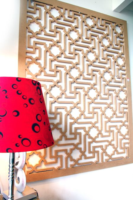 It's not always easy finding a very large painting or artwork to add interest to a wall. Decorative screens are an easier option! This is our 'Istanbul' design in MDF. ~QAQ