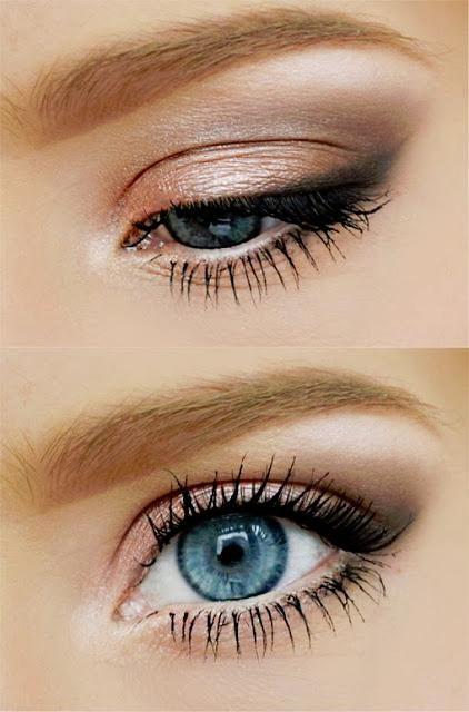 gold+peach, light grey+light brown- pretty for blue eyes makes them pop