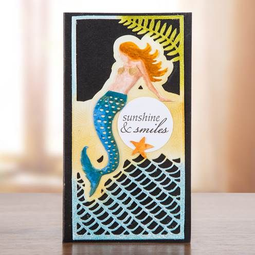 Sunshine and smiles! Summery design from the Sea Siren Collection, shop the range here now: http://www.createandcraft.tv/papercraft/dies+and+storage/dies/couture+collection--sea+siren.aspx?icn=Sea_Siren&ici=Couture_Sea_Siren #papercraft #cardmaking