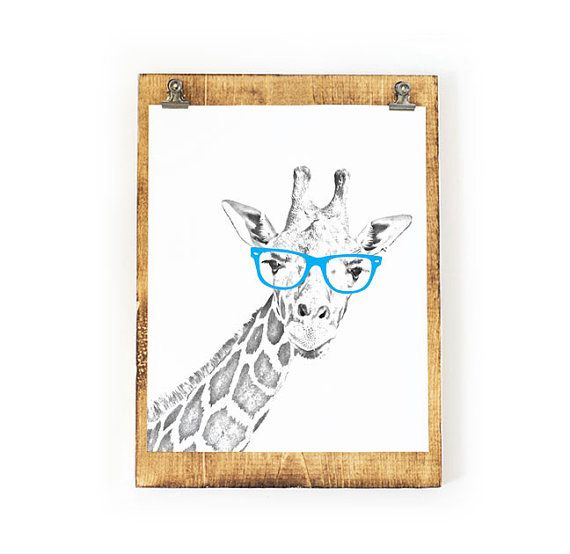 Giraffe Portrait Art Print with glasses. This whimsical Giraffe with glasses print would be the perfect addition to your home, childs room, or nursery...just frame it and hang it! Prints are an easy and affordable way to transform any room into a space that perfectly reflects