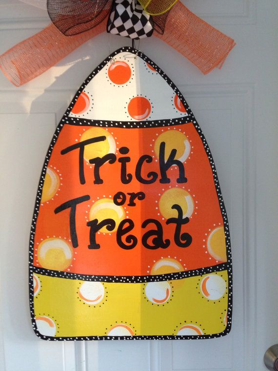 Festive Door decor for fall! Great for halloween . Sure to add character to your door.    hand made hand cut sealed for protection 0.5