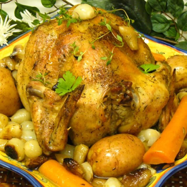 12 Recipes for Baking or Roasting a Whole Chicken: Chicken with Forty Cloves of Garlic (Clay-pot) Recipe