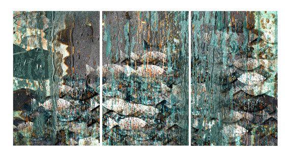 tryptic 2 art print ocean 2 wall decoration home by aquamorina