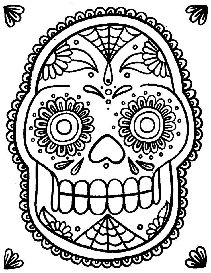 219 best printable sugar skulls coloring images on pinterest ... - Sugar Skull Coloring Pages Print