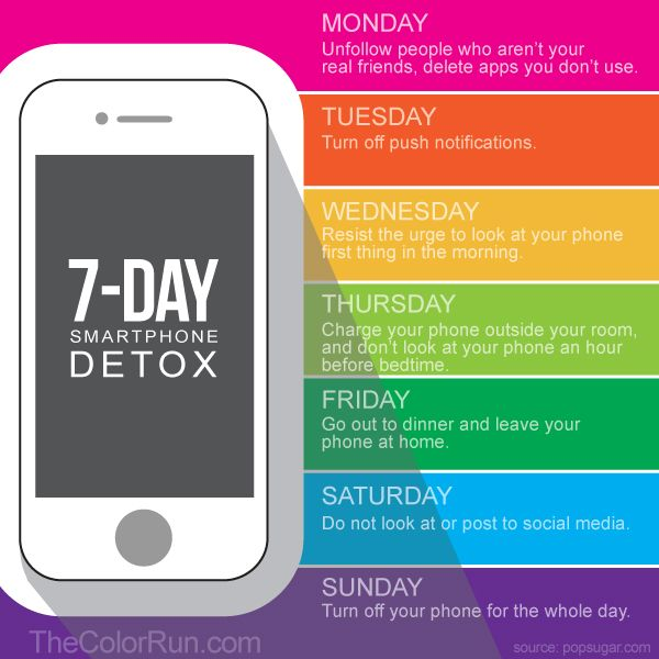 Can you go without checking your phone for 20 minutes? If the answer is no, here's a 7-day phone detox schedule that will help save us all from those little glowing screens.