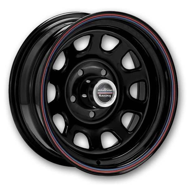 American Racing Wheels AR767 16x8 Gloss Black w/ Red-Blue Stripe Low Offset (American-Racing-Rims-AR767-16-8GBRBSL.s)