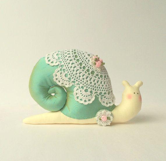Plush Snail toy stuffed Snail doll cute toy by CherryGardenDolls