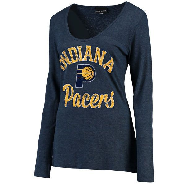 Indiana Pacers New Era Women's Distressed Logo Tri-Blend Long Sleeve T-Shirt - Navy - $29.99