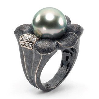 Alishan Halebian - Palladium and oxidized sterling silver ring with colorless diamonds and a Tahitian pearl.