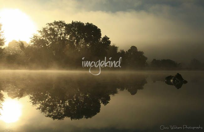 """""""Misty Morning"""" by Chris Wolters Photography, Missouri // Fog rises over Stephen's lake in Columbia Missouri // Imagekind.com -- Buy stunning, museum-quality fine art prints, framed prints, and canvas prints directly from independent working artists and photographers."""