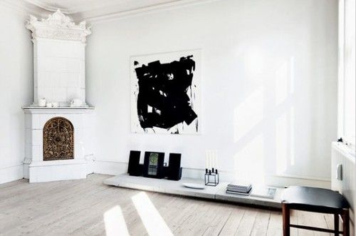 PaintingInspiration, Black And White, Livingroom, Living Room, Black White, Corner Fireplaces, Apartments, White Interiors, White Wall