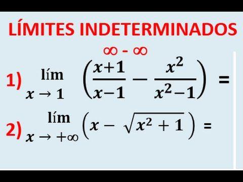Limites indeterminados infinito menos infinito, Multiplicar por el conjugado 1 - YouTube