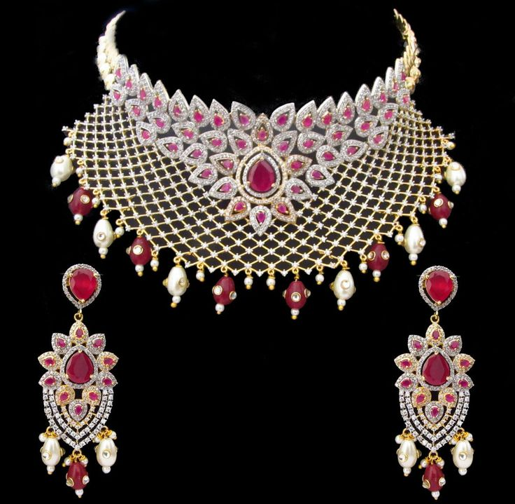 Indian Bridal CZ AD Gold & Silver Bollywood Bridal Necklace Set Swam Jewelry 163