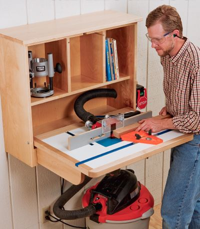 Build a Wall-Mounted Router Table Cabinet - Free Woodworking Plans. www.Rockler.com. Perfect for small shops!