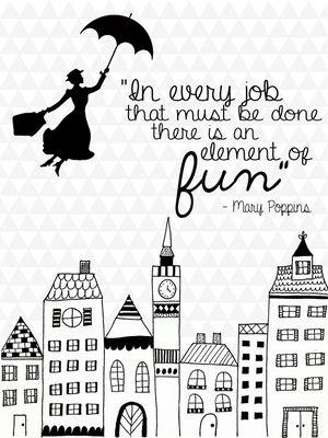 Mary Poppins Black&White Print