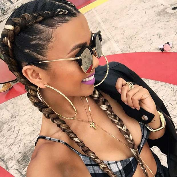 Cornrows with Colored Extensions