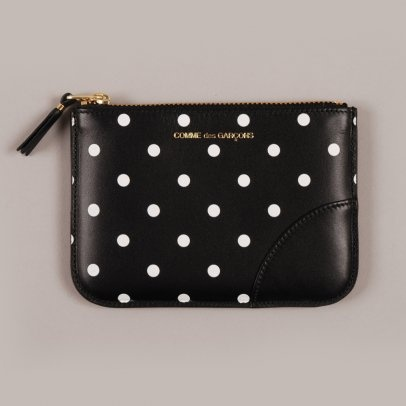 Comme des Garçons polka-dot printed, cowhide leather wallet - made in Spain