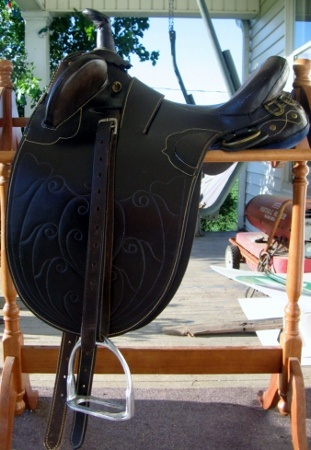 "BEAUTIFUL 17"" Australian Leather Trail Saddle  This is a very lightly used Saddle (or measures 15"" western).  Comes with litely used nylon girth, stirrups and new English leathers.  Selling well below cost.  Saddle in near Excellent Condition .  Has been in storage for 3 yrs. been oiled, cleaned, and covered.  Ready to make someone a great gift and give them that Perfect ride  Gorgeous Stitching will never fade $250 FIRM *  Grover Hill, Ohio  Local Pick-up, or Shipping is between $30 - $40"