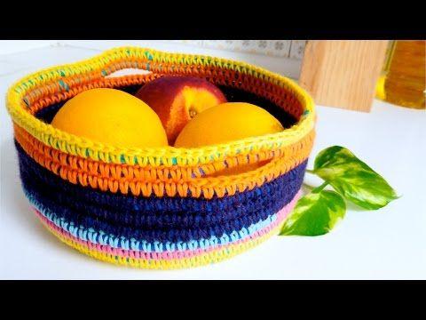 Cesto / Canasta a Crochet - Trapillo y Lana - PASO A PASO - YouTube