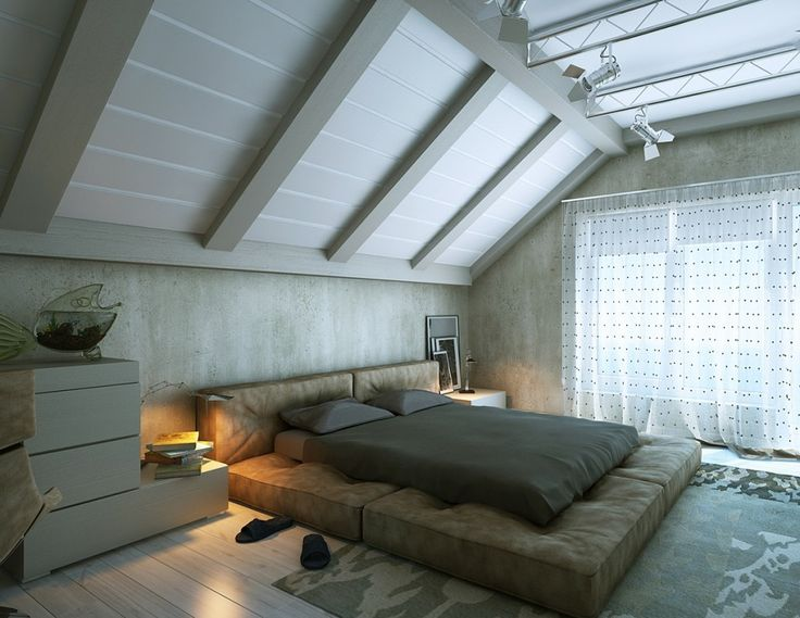 bedroom modern attic bedroom design with platform bed also white dresser along with white windows curtains - Attic Design Ideas